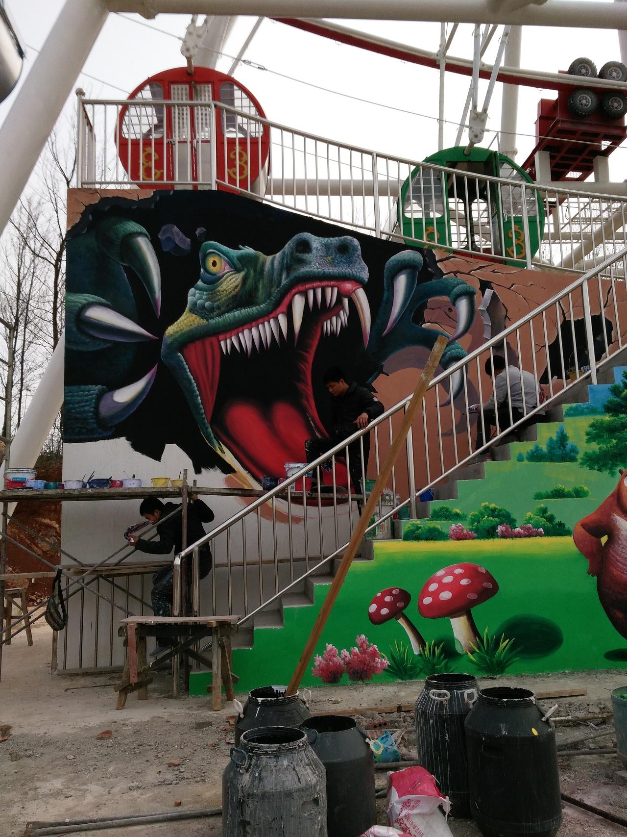 赣州幼儿园外墙绘画,赣州美丽乡村墙画手绘,赣州背景墙,赣州墙体壁画